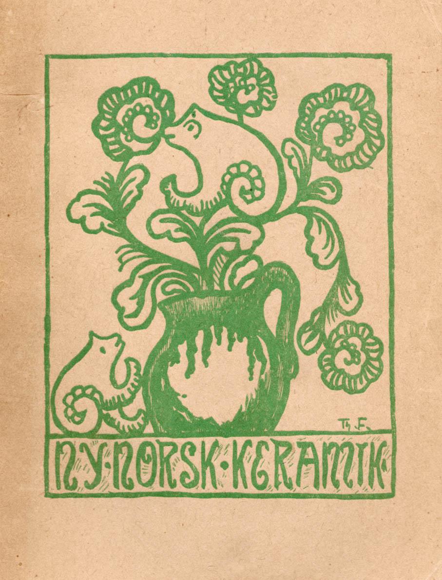 Utstillingskatalog til Foreningen Brukskunst utstilling Ny norsk keramik i 1918. Forside tegnet av Theodor Friestad. (Foto: Mats Linder)