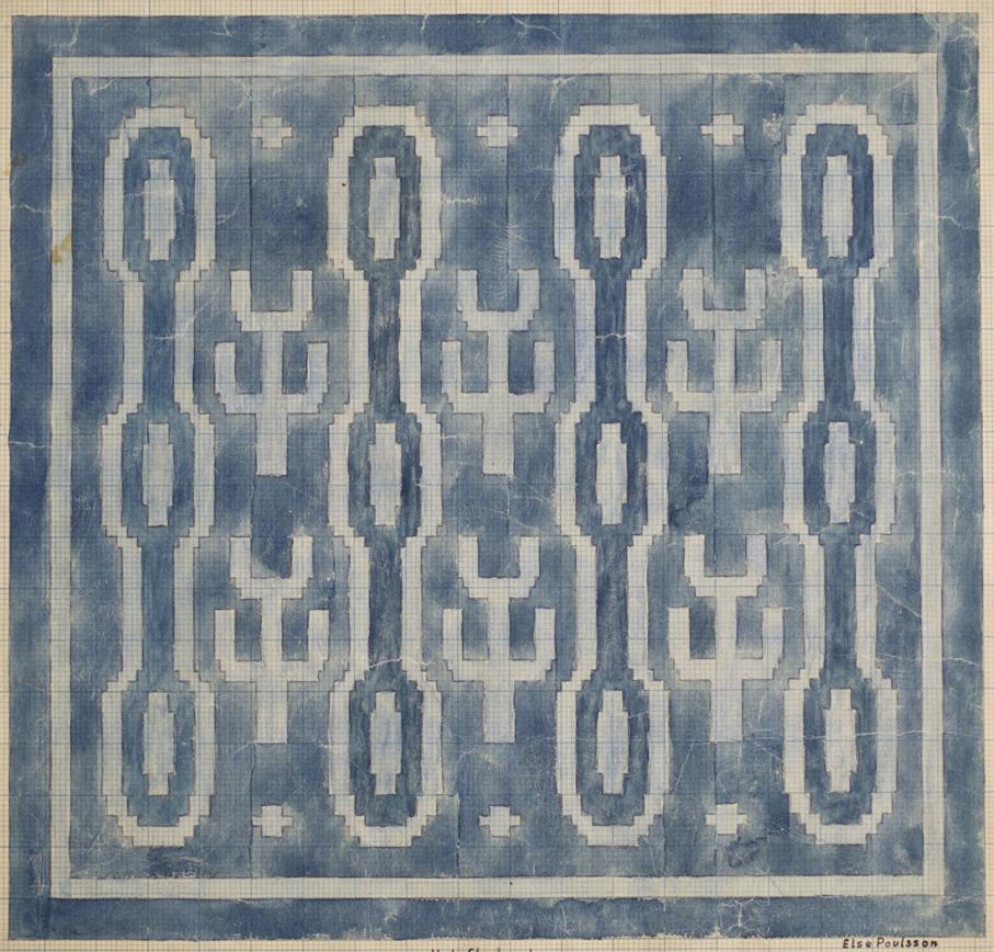 Else Poulsson. Tegning til pute i halvfloss. 1930-årene. (Foto: Mats Linder)