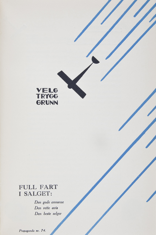 Fart og diagonaler var på moten under 1930-tallet. Som i denne reklamen for Bergens Arbeiderblad, 1931.