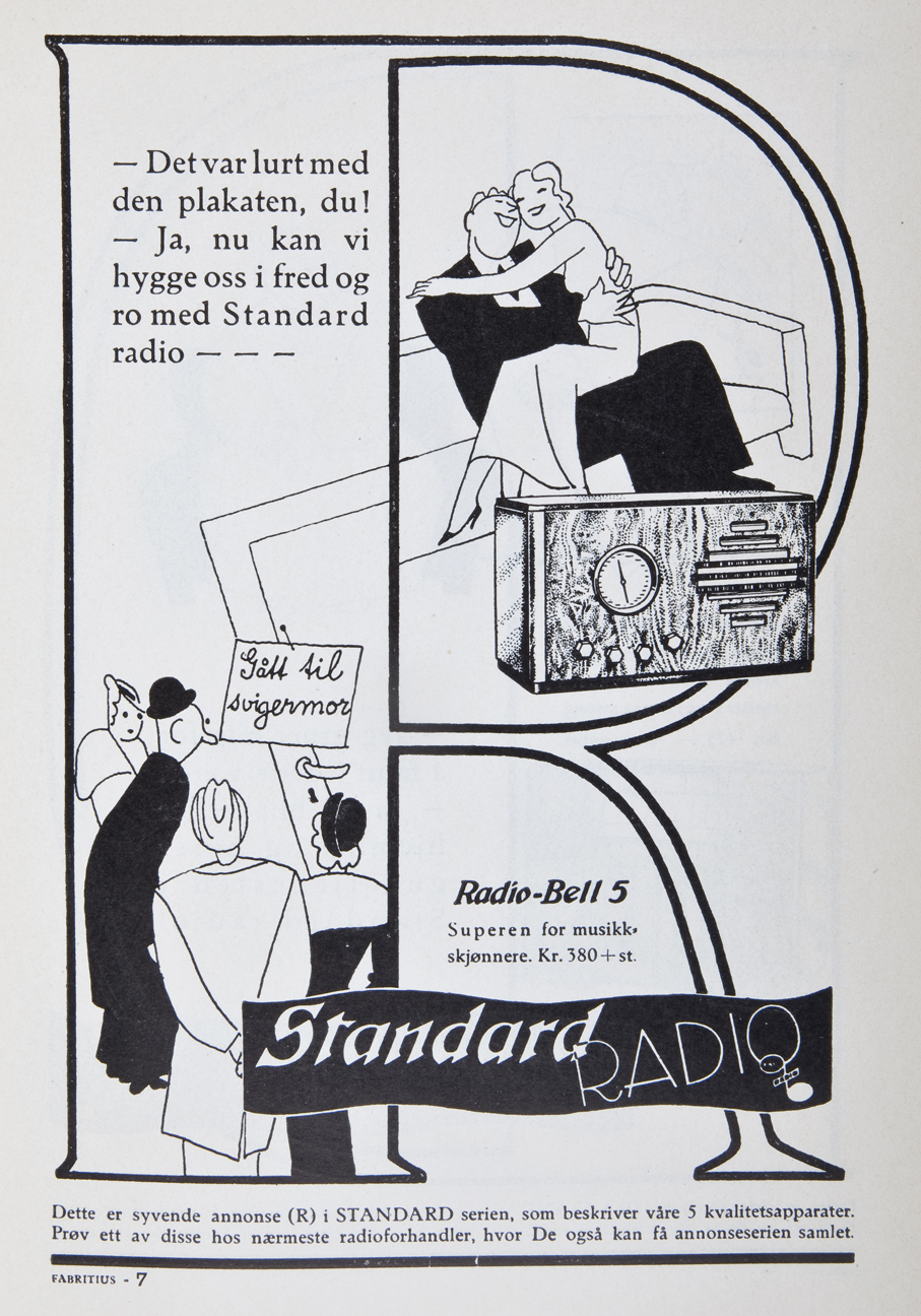 """I annonseserien for Standard Radio utformet man den enkelte annonse med bokstaver fra Standard. Som her """"R"""". Flere av annonsene hadde humoristiske, men samtidig ladede erotiske motiver."""