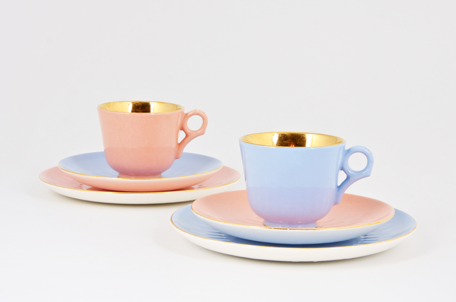 Ragnar Grimsrud. Kaffekopp og skål. Modell: Bjørgvin. Dekor: Margrethe. Produsert ved Figgjo. 1953. (Foto: Mats Linder)