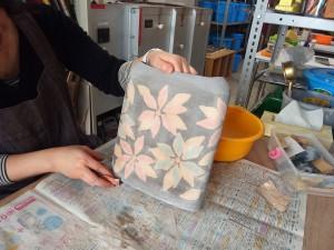 練り込み象嵌花器