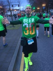 Before the race, in my kilt!