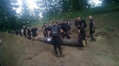 The massive log we had to carry without it touching the ground.