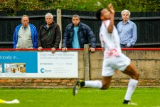 During the match between Beaconsfield Town FC and Hayes and Yeading United at Holloways Park Beaconsfield on 21 April 2018.
