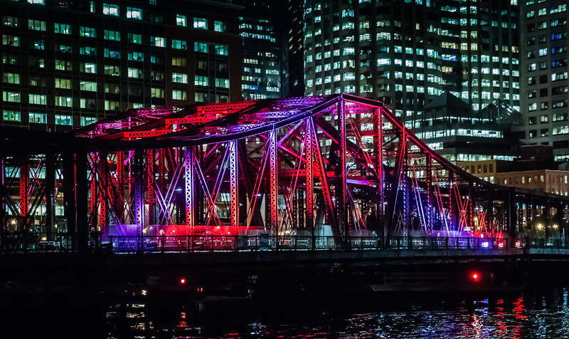 Old Northern Avenue Bridge Illuminated