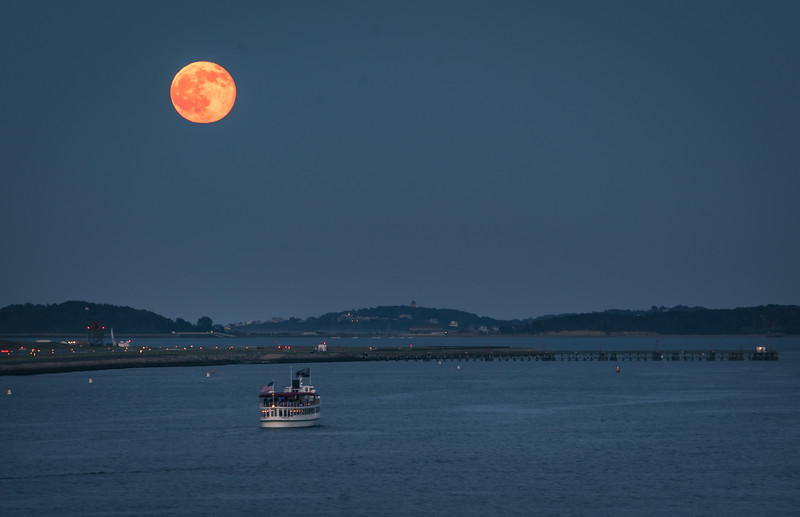 Strawberry Moon over Boston Harbor and Islands - June 2016
