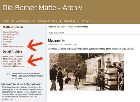 Printscreen der Homepage