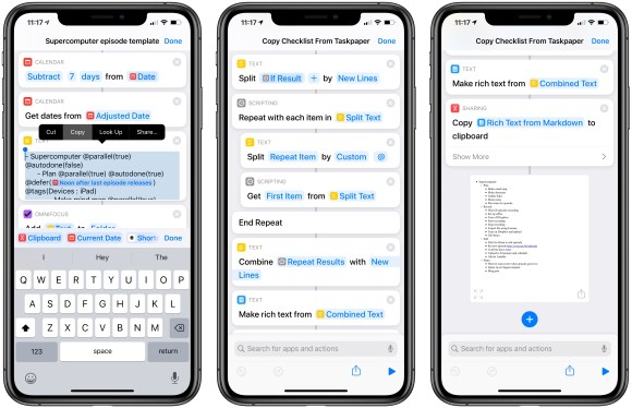 Three screenshots from the Shortcuts app, showing user copying a TaskPaper list out of one, running it through the linked shortcut, and showing a final result of a Markdown-formatted checklist.