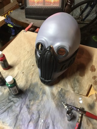 "Airbrushing the ""brass"" parts black"