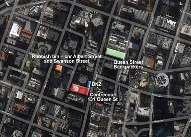 Key central Auckland locations relating to Kayo Matsuzawa's murder