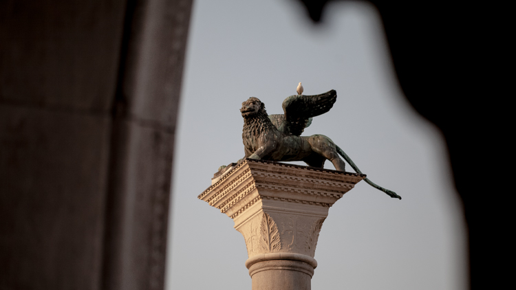 Lion of Venice Statue with a dove sitting on it
