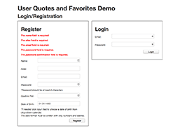 CodeIgniter PHP MVC Framework Demo 1 - Home Page Register Form Validation Messages