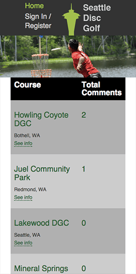 Seattle Disc Golf - Mobile Home Page