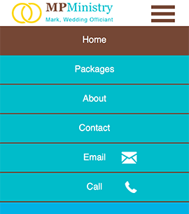 MP Ministry - Mobile Home page with Fly-out Menu