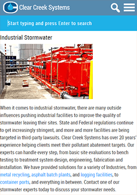 Clear Creek Systems Stormwater Mobile Page
