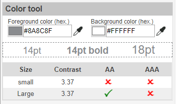 WCAG 2.0 Contrast checker plugin color tool