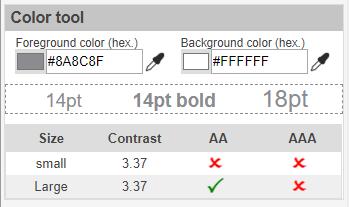 WCAG 2.0 Contrast checker plugin color tool