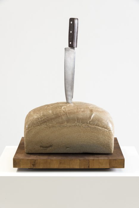 Sword and the Stone, 2012 Sandstone, stainless steel and wood 22 x 17.5 x 13.5 inches