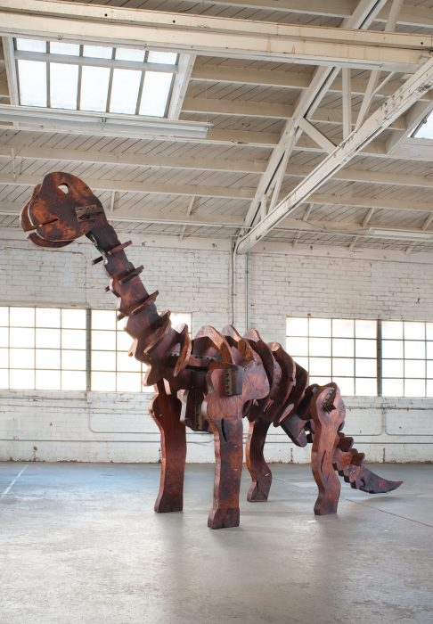 Baby Dinosaur (Apatosaurus), 2013 Salvaged old growth redwood and stainless steel 116 x 48 x 202 inches