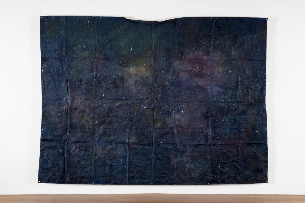 Untitled (Cosmos Tarp), 2014 Painted blue tarp, wood and fiberglass 98 x 136 inches