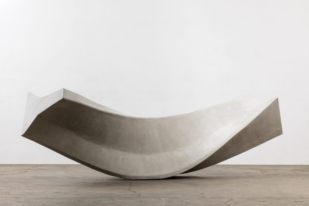 Twisted Jersey Barrier, 2015 Wood and cement 46.31 x 144 x 41.63 inches