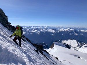 Me on the summit pyramid. This is as we were downclimbing. PC Anna Hurst.