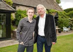 Matt Lovett with Richard Branson at his house