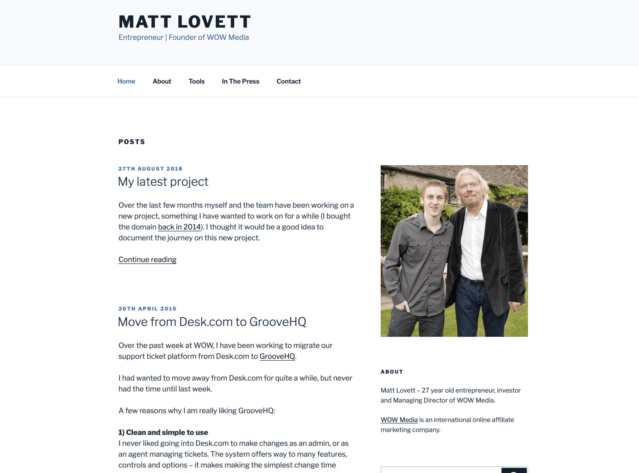 The old MattLovett.co.uk design