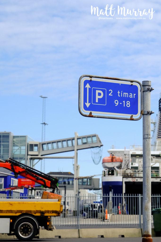 Two hour parking sign at Torshavn Harbour, Faroe Islands