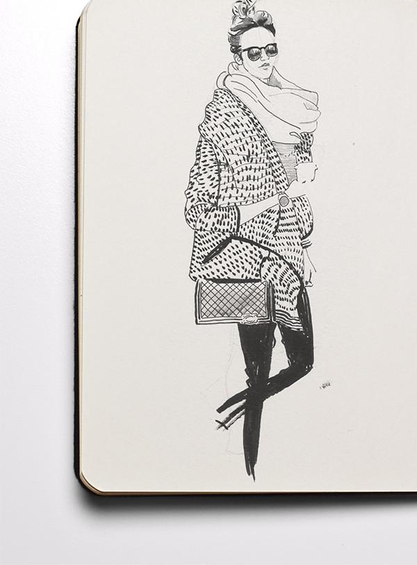 Pen & Ink fashion Illustration from Illustrator Matt Richards's fashion sketchbook
