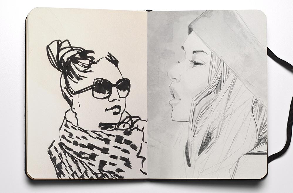 Pen, Pencil & Ink fashion Illustration from Illustrator Matt Richards's fashion sketchbook