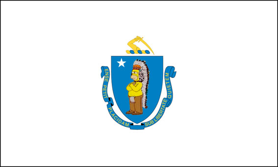 The Massachusetts flag with more Homer Simpson