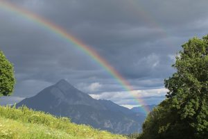 Mountain with rainbow for a pagan story