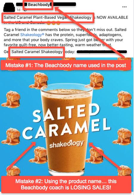 bad FB post example for Beachbody sales