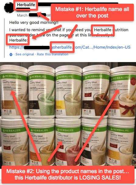 Example of bad Herbalife FB post