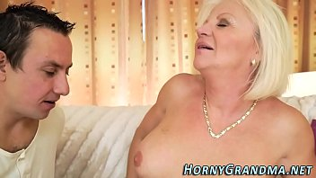 Blonde granny Anett fucks cock and gets jizz mouthed