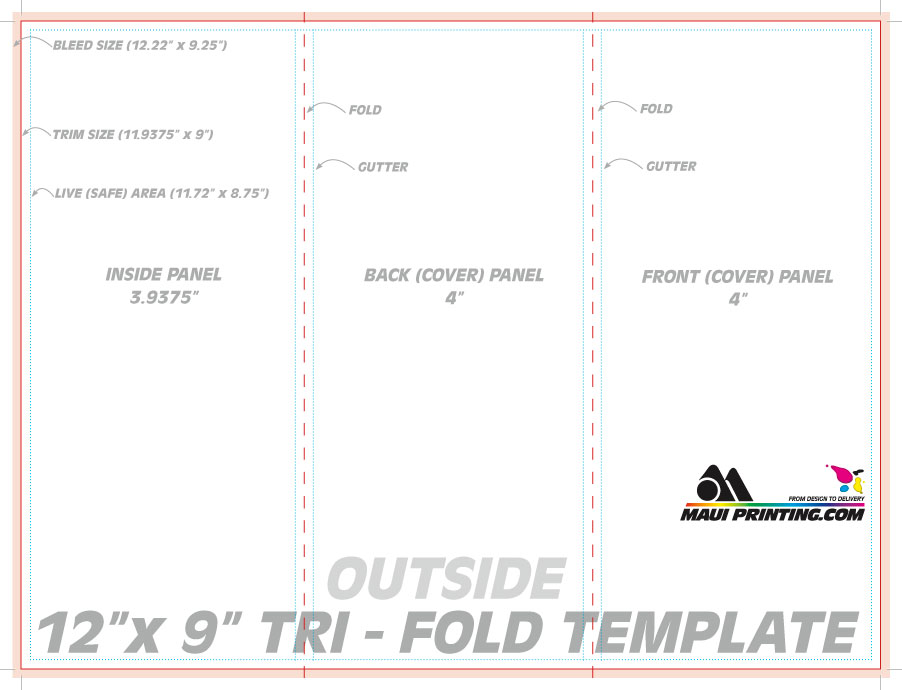 Maui Printing Company Inc 12 X 9 Roll Fold Brochure Template