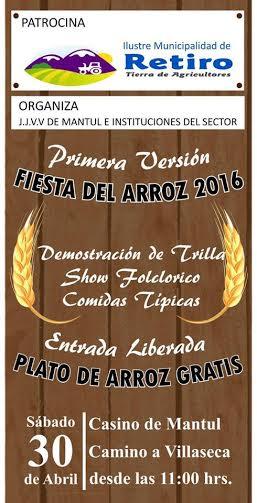 "Retiro Invita a la gran Fiesta del Arroz ""Mantúl 2016"""