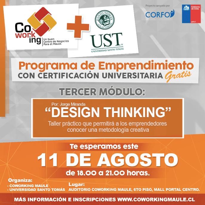 """""""Design thinking"""": tercer módulo del programa de emprendimiento se desarrollará este jueves"""