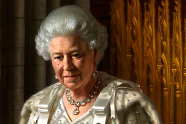 closeup of the Queen in Ralph Heimans portrait 2012
