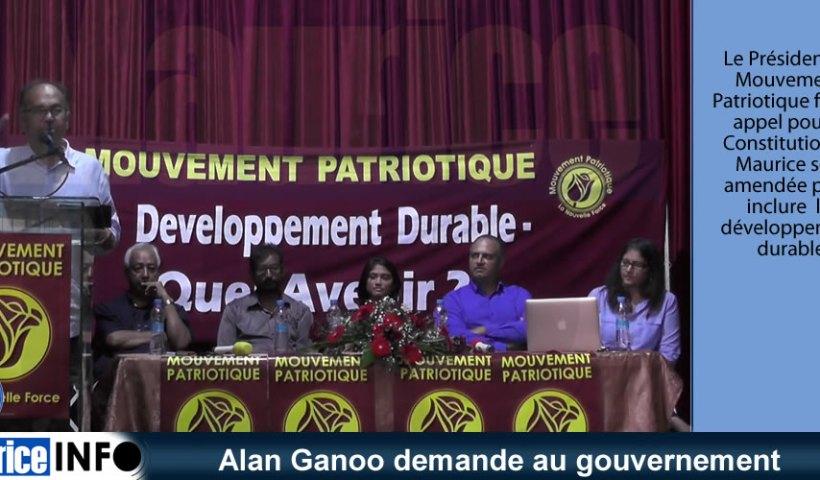 Alan Ganoo demande au gouvernement