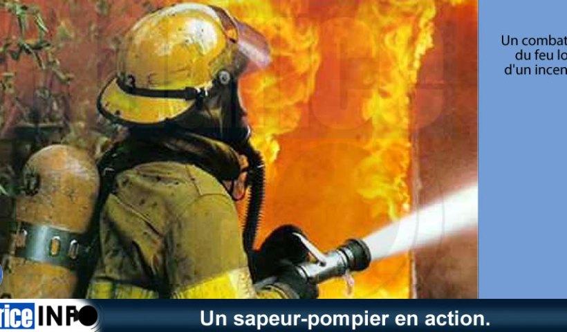 Un sapeur-pompier en action.