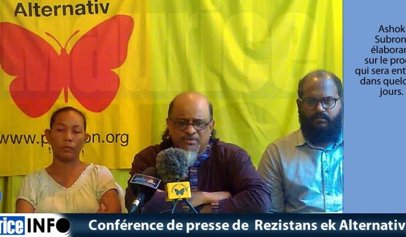 Conférence de presse de Rezistans ek Alternativ du 4 Mai 2019