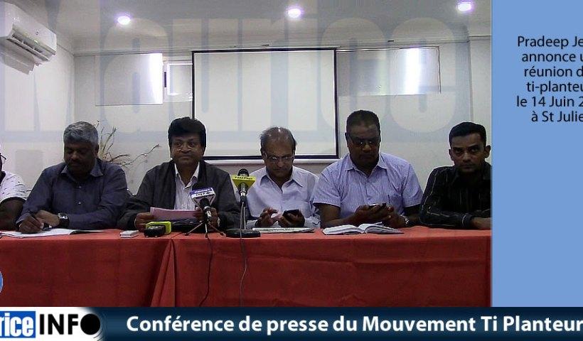 Conférence de presse du Mouvement Ti Planteur du 28 Mai 2019