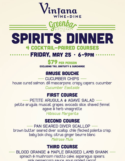 Greenbar Spirits Dinner