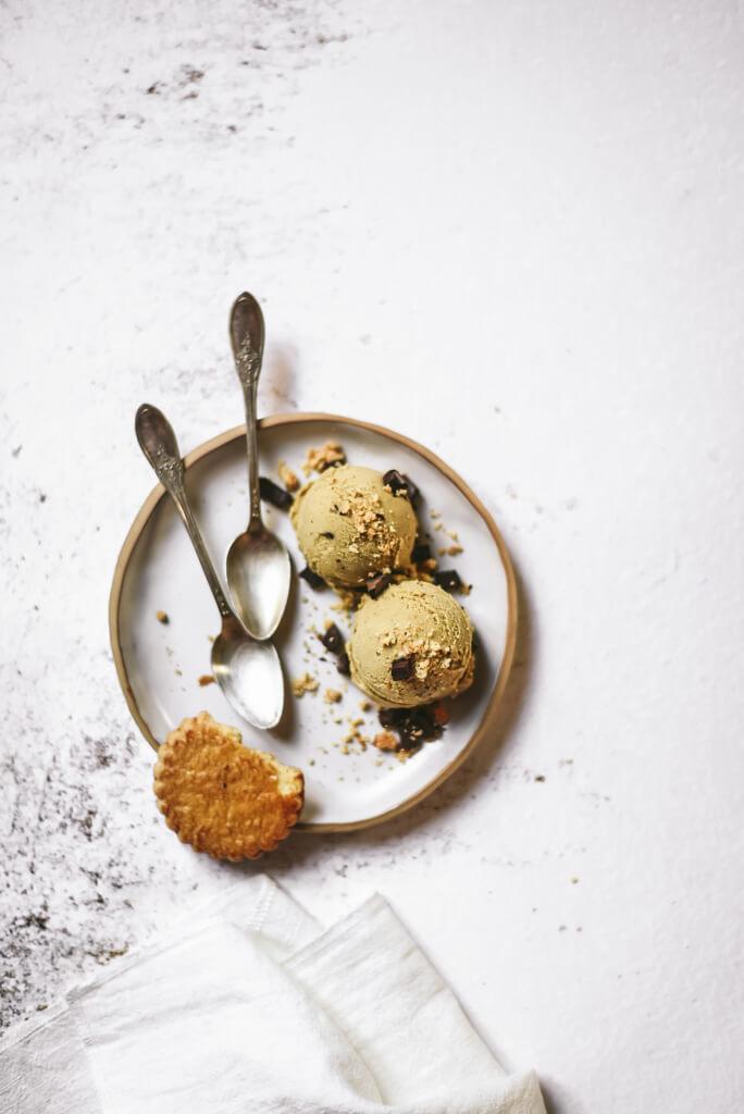 Glace pistache et chocolat noir