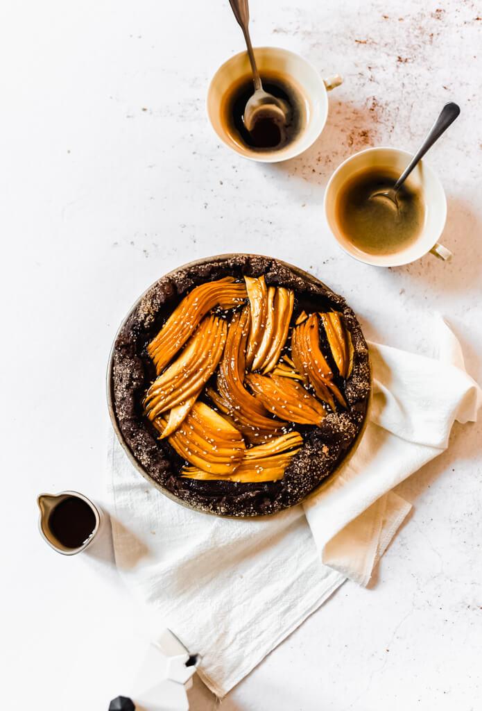 Tarte rustique mangue chocolat