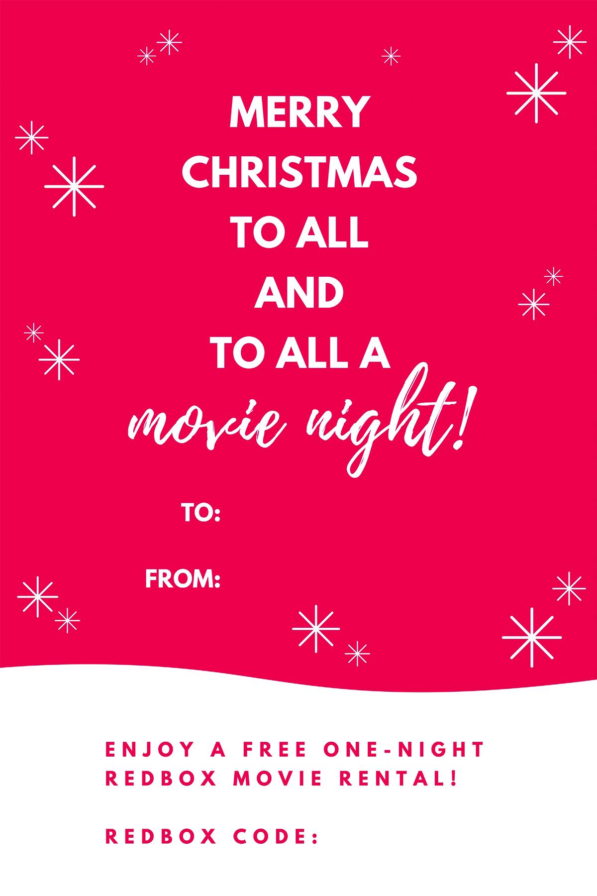 Free Printable Redbox Movie Christmas Gift Tags Maurine