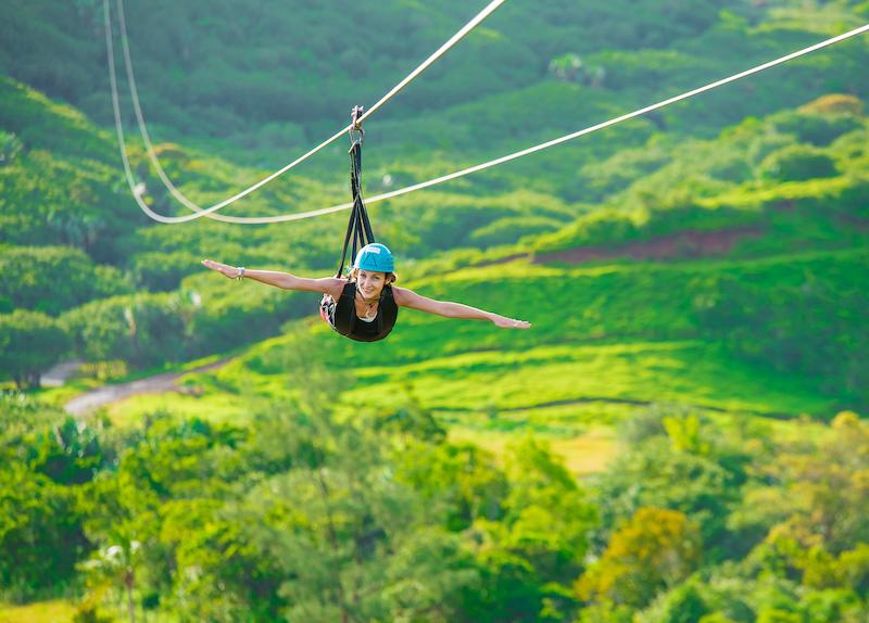 Zip line at la Vallée des Couleurs in Mauritius